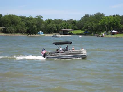 Pontoon Boat On Lake LBJ